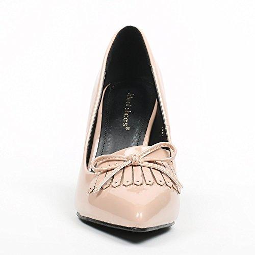 Ideal Shoes–Escarpins vernice con punta appuntita e frange Jema Beige
