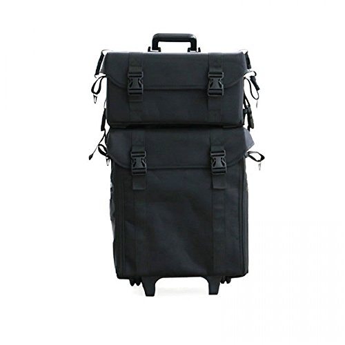 PRO MakeUp Artist Trolley Case, Nylon, 2-IN-1, Black by Glam Looks