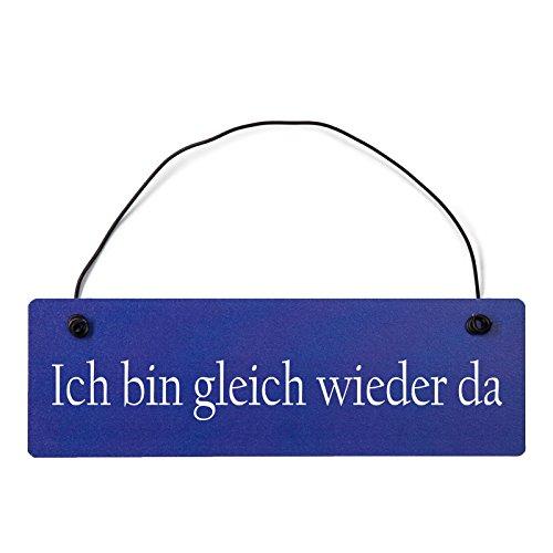 Deko Shabby Chic Schild Ich bin gleich wieder da Vintage Holz Türschild in hellblau mit Draht