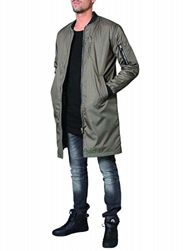 DJ White Long Bomber Jacke Parka Oversize Mantel Khaki