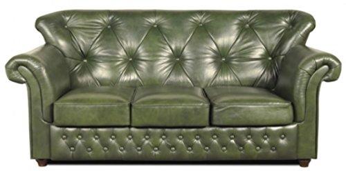 Casa Padrino Chesterfield Echtleder 3er Sofa in grün mit dunkelbraunen Füßen 200 x 80 x H. 85 cm – Luxus Qualität