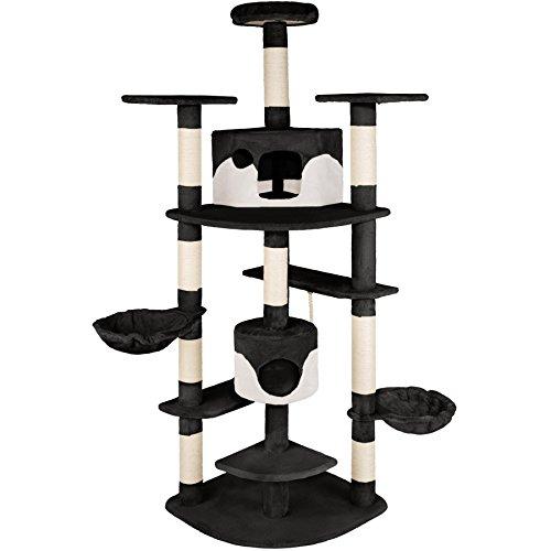 TecTake Tiragraffi per gatto gatti gioco nuovo 201cm (nero-bianco | no. 402185)