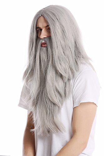 WIG ME UP ® - PW0210-ZA68E Peluca lisa larga & barba Carnaval color gris mago profeta motero mayor