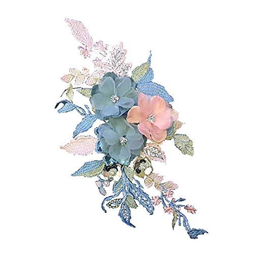 (Fansi 1 Stück Mode Applikation Kleidung Dekoration Kreative Handarbeit Blumen Bestickt Handarbeit Baby Kinder Mädchen Frauen Tücher DIY Kostüm Zubehör)