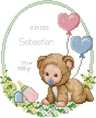 Ellen Maurer-Stroh | Kreuzstichvorlage Stickvorlage - Baby Announcement - Baby Geburt Kostüm