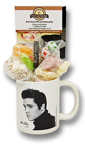 Elvis Mug with a selection 1950's old fashioned Sweets