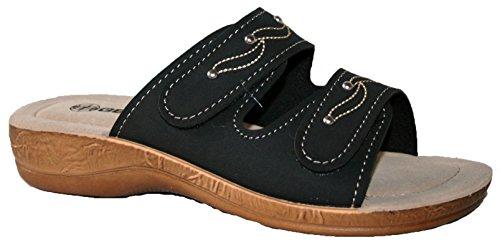 Gezer, bequeme, leichte Damen-Slipper mit Zehenloch, - black straps - Größe: 37.5