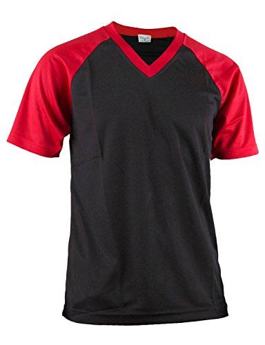 BCPOLO Herren Sportswear V-Ausschnitt Funktions Coolmax Stoff Kurzarm T-Shirt-black XL
