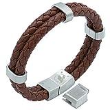 Lederarmband Herren braun | Armband Männer | Wolflock 'Bracketeer' | Magnetverschluss und Slider aus gebürstetem Edelstahl (braun)