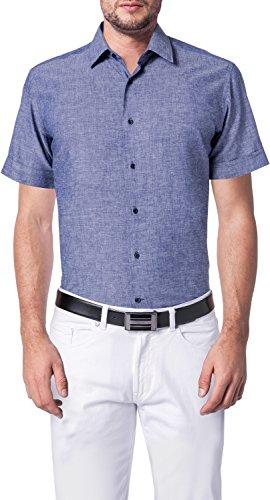 Lagerfeld Herren Hemd Leinen Oberhemd Blau 45