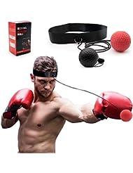 SPECOOL Palla Riflessa da Boxe,2 Livelli Allenamento Boxe con Fascia Testa Regolabile/Migliora Le reazioni di velocità/la Coordinazione Occhio Mano Allenamento Sportivo e Fitness