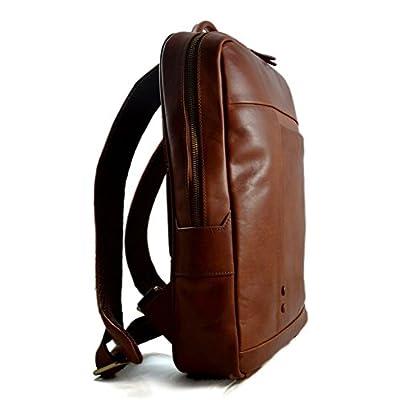 Leather backpack genuine leather travel bag weekender sports bag gym bag leather shoulder ladies mens satchel light backpack brown - handmade-bags
