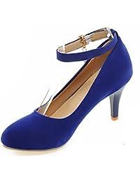 Easemax Damen Elegant Lackleder Knöchelriemchen Plateau Pumps Schuhe Blau 36 EU