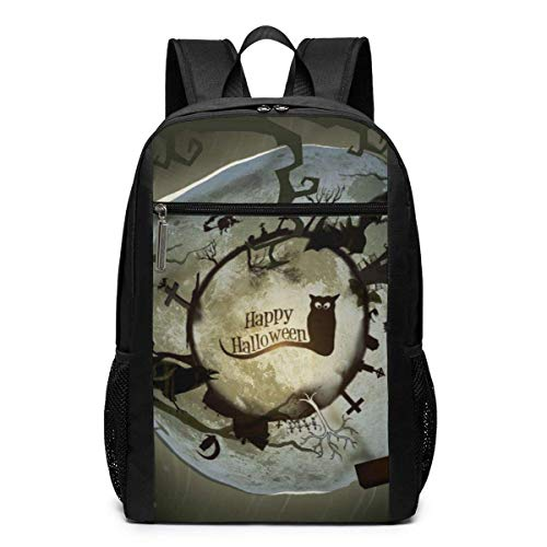 School Backpack, Schoolbag Travel Bookbag, Halloween Decor Wallpaper Laptop Computer Backpack 17 Inch Large Casual Travel Daypack Laptop Bag for Women Men (Halloween 5 Wallpaper-iphone)