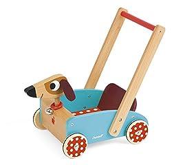 Janod J05995 - Lauflernwagen aus Holz, Crazy Doggy