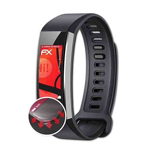 atFoliX Schutzfolie passend für Huawei Band 2 Pro Folie, entspiegelnde & Flexible FX Bildschirmschutzfolie (3X)