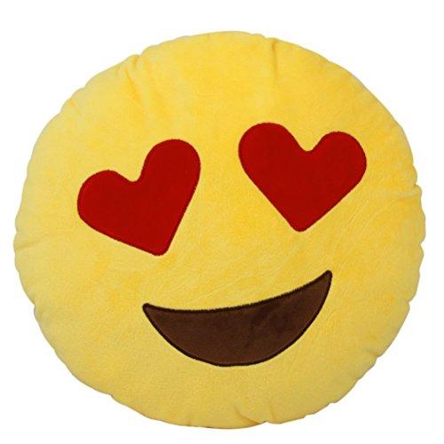 LEORX Emoticon weiche Emoji Smiley Kissen gefüllt weiches Plüschtier (Herz Augen)