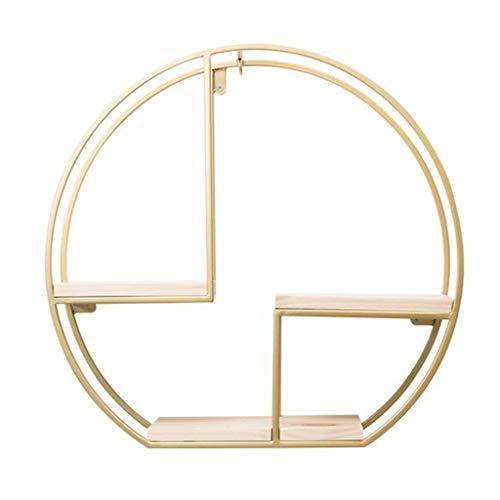 NLQZS-Y Retro Industrie Wind Holz Wand Runde Regal, Schmiedeeisen Rahmen Wohnzimmer Wandbehang Wanddekoration Rahmen, Gold