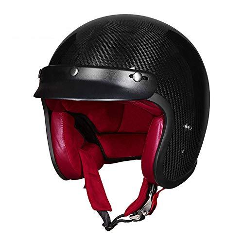 TKYZYY Caschi da Motociclista, Fibra di Carbonio Casco Moto Vintage Adulti Open Face 3/4 Casco da Moto Cruiser Casco Leggero Moto Scooter Auto elettrica 55-62cm