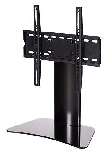 RICOO TV Ständer FS212-B für 30-55 Zoll (ca. 76-140cm) mit Kabelmanagement Universal Fernseh Halterung Stand Fernseher Fernsehständer Flachbildschirme | VESA 200x100 400x400 Schwarz Glas Hochglanz