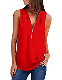 fc7a484a5ba63 Blusas sin Manga Cuello en V Cremallera Camisetas sin Manga Mujer Camiseta  Tirantes Largas Top Blusa