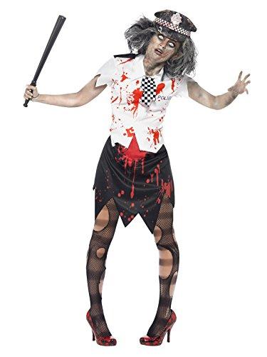 Zombie costume da poliziotta halloween nero bianco rosso