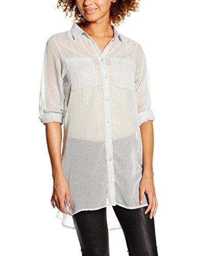 Vila Vinilla Metallic L/S Shirt, Blouse Femme Gris (High-Rise)