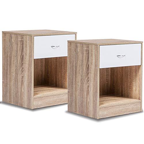 IDMarket - Lot de 2 tables de chevet bois façon hêtre tiroir blanc