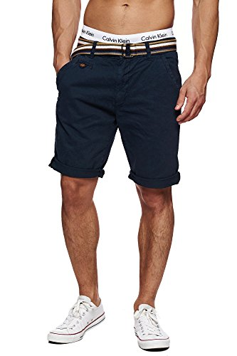 INDICODE Herren Cuba Shorts Bermuda kurze Hose inkl. Gürtel Blau Navy M