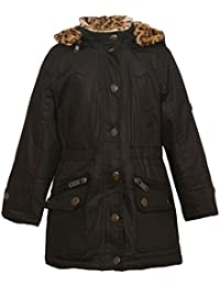 Urban Republic Little Girls Black Snap Button Leopard Hood Trendy Coat 4-6X