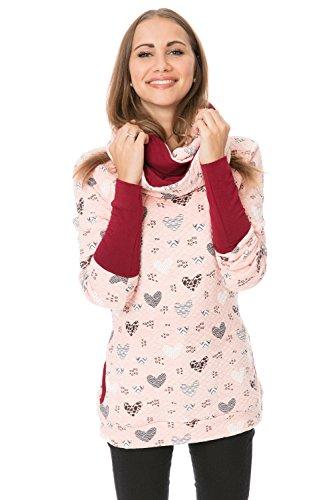 Haut Feminine Tücher (GoFuture Damen Set (3in1 Pullover + Tuch) WINGSofLOVE GF9996XM in Rosa mit schwarzweissem Herzmuster plus Weinrot)