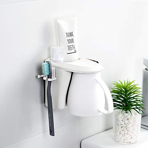 Slivy Nordic Magnetic Attraction Kunststoff-Zahnbürstenhalter-Set Wandhalterung Multifunktions-Zahnpasta-Ablagefach mit Klebstoff for das Badezimmer im Waschraum, 1 Tasse mit Griff (Color : White)