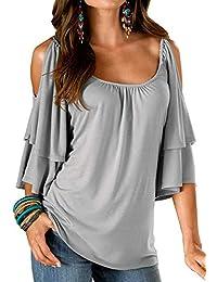 Dromild Camisa de Blusa Suelta con Cuello en V para Mujer de