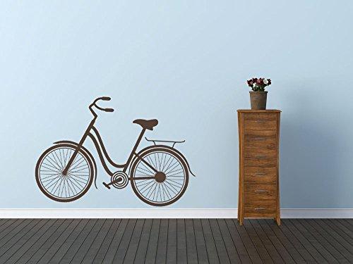 Vintage bicicleta del niño moda Premium vinilo adhesivo de pared color marrón mate habitación infantil decoración del hogar