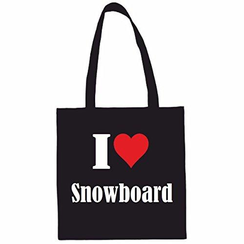 Sac à Bandoulière I Love Snowboard Shopping Bag Sac d'école Sac de Sport 38x 42cm en Noir ou Blanc.. Le cadeau parfait pour votre amoureux