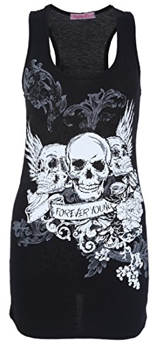 ladies-girls-sleeveless-3-skulls-forever-young-printed-casual-vest-tee-top