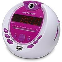 Metronic 477022 Radio-Réveil Enfant  Miss Angel MP3 USB Projection 180°- Blanc/Violet