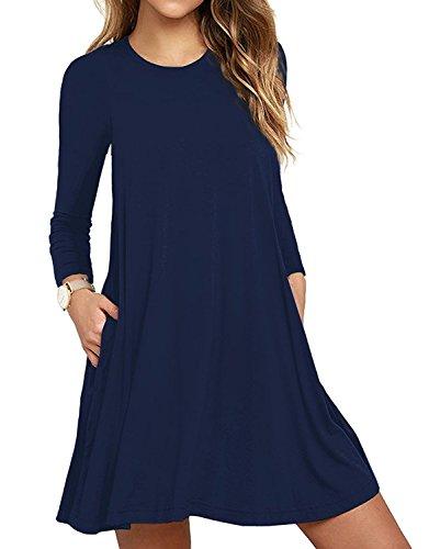 HAOMEILI Damen Langarm Stretch Casual Loose T-Shirt Kleid M Navy Blau (Spandex Stretch-rayon)