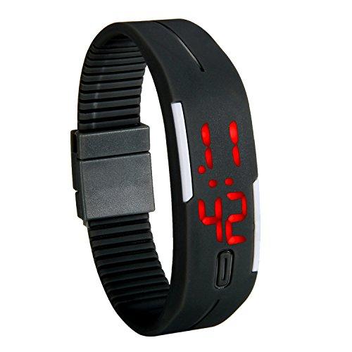 Lancardo Reloj Electrónico con Luces de LED Correa de Silicona Pulsera Digital Ajustable Multifunción Formato 12/24H Calendario Unisex para Adultos y Alumnos (Negro)