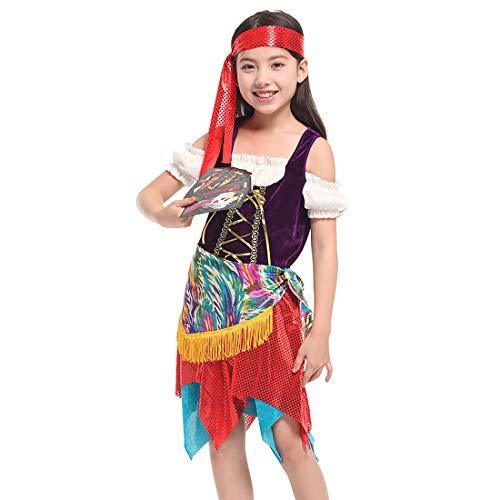Neuheit Kreativ Kind Kostüm - Halloween Junge Mädchen Pirat Kinderkostüm, ideal für Karneval, Halloween und Themen Partys usw.(Beinhaltet Nicht: Waffe),Height:130~140CM (Piraten Waffen Kit)
