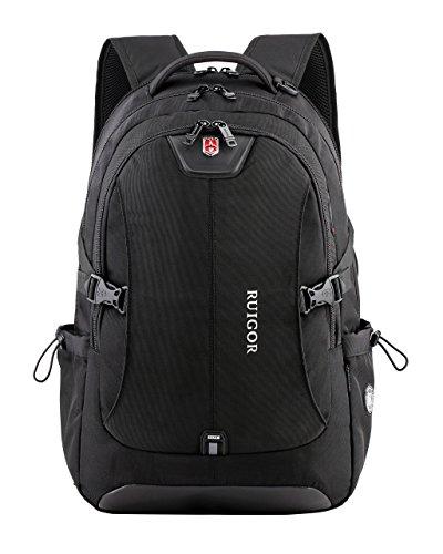 Ruigor RG6147 - robuster Trekking Rucksack wasserabweisender outdoor Rucksack 30l Laptop Tasche 15.6 Zoll schwarzer Herren Arbeitsrucksack (Nylon Ballistic Laptop-tasche)