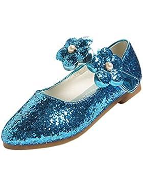 Bailarina de las muchachas Flor plana Princesa zapatos del brillo Partido Danza Maria Jane