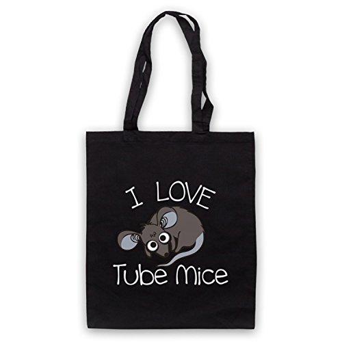 I Love Mouse-Borsa a tubo, motivo: aforismi [lingua inglese] Nero