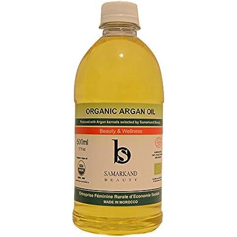 500 ml Aceite de Argán BIO 100% Puro conCertificado Ecológico EcocertPrimera Presión en Fríopara Pelo y Piel - El Original de