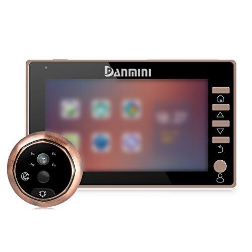 4.5Zoll Video-Türklingel/Digitaler Türspion mit PIR-Bewegungsmelder, 170Grad Weitwinkel, 2.0MP HD Kamera mit Nachtsicht, schwarz