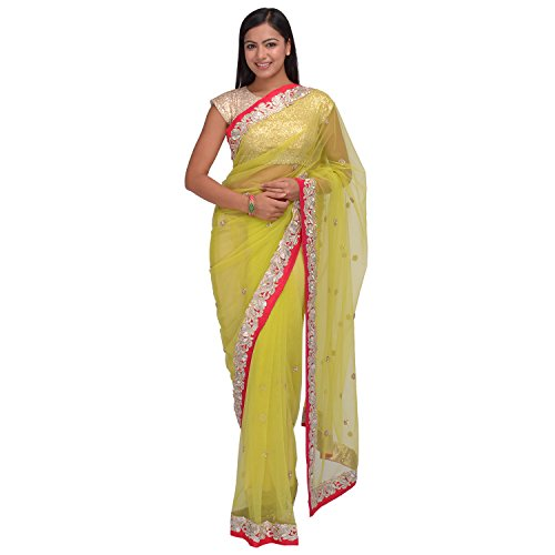 Ognora Net Saree (Danc - 105_Lemon Green)