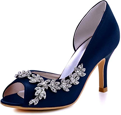 Elegantpark hp1542 donna partito pompe peep toe d'orsay strasss tacco a spillo satin scarpe da sposa blu marina eu 39
