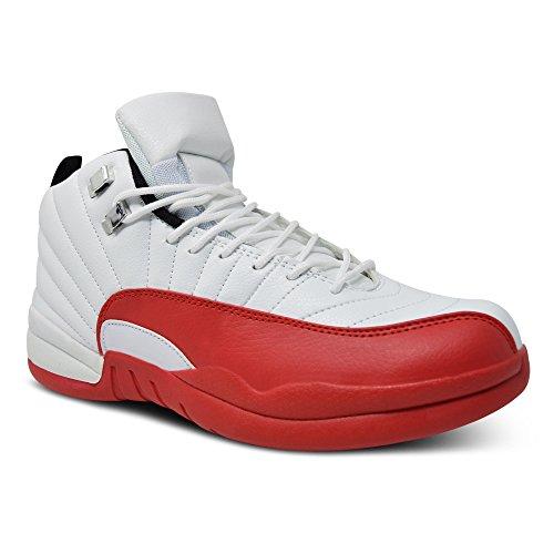 Xelay Herren Basketball Knöchelhoch Stiefel Bekomme Passform Netz Laufen Sportschuhe Size UK 6 - 11 Weiß / Rot