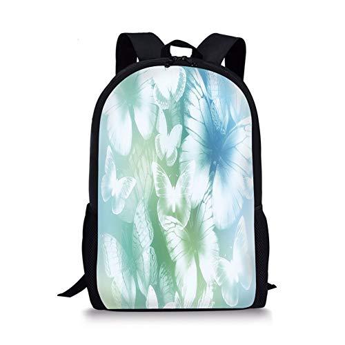 School Bags Light Blue,Dreamlike Butterflies in Spring Garden Blurry Fantasy Wings,Light Blue Light Green White for Boys&Girls Mens Sport Daypack -