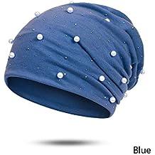 AEGKH Sombrero de la Gorrita Tejida de Las Mujeres vendedoras Calientes del Brillo del poliéster Perlas